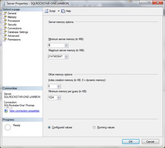Using SSMS to set the max server memory for SQL Server