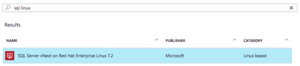 SQL Server vNext on Red Hat Enterprise Linux in Azure