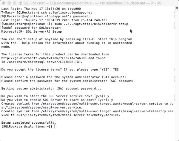 SQL Server vNext on Linux install complete