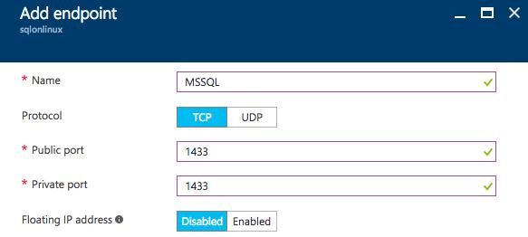SQL Server vNext on Linux Azure endpoint