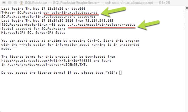 SSH SQL Server vNext Linux