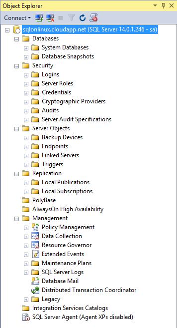 SQL Server vNext Linux Azure connect SSMS