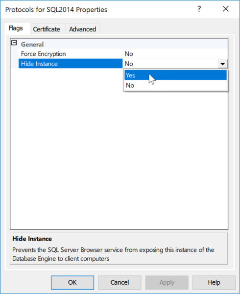 how to hide instance of SQL Server flags