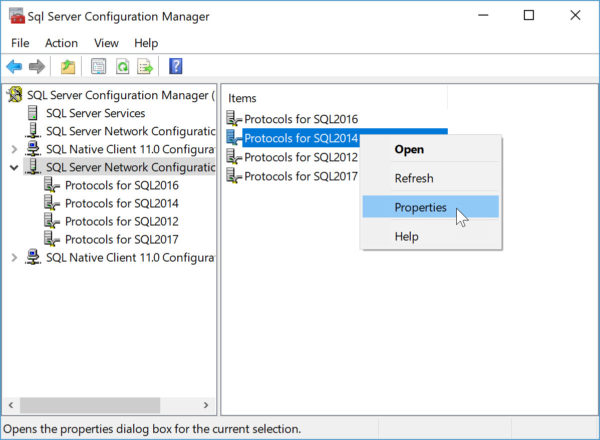 how to hide instance of SQL Server properties