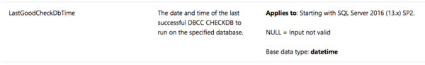 Using DATABASEPROPERTYEX to Find Last Good DBCC CHECKDB Time